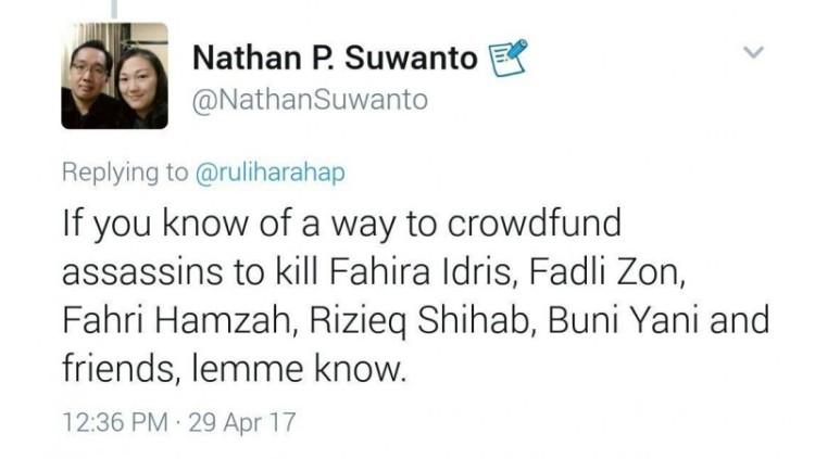Nathan P Suwanto menulisan ancaman pembunuhan di Twitter