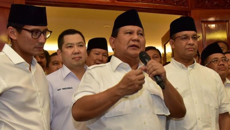 Prabowo Subianto saat deklarasi kemenangan Anies-Sandi
