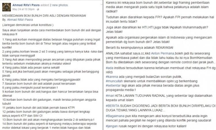 Status Ahmad Rifai di Facebook