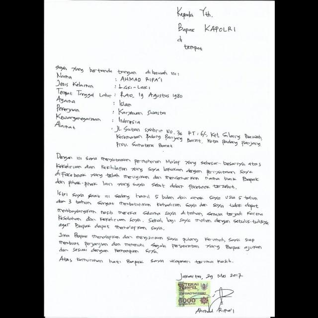 Surat permintaan maaf Ahmad Rifai ke Kapolri