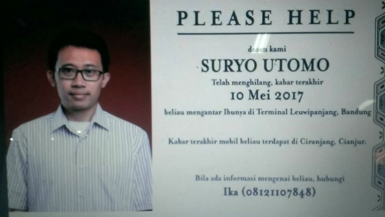 Suryo Utomo, dosen ITB yang diduga tewas