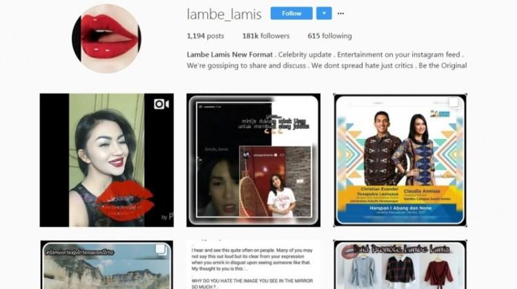 Tampilan akun Instagram gosip, Lambe Lamis