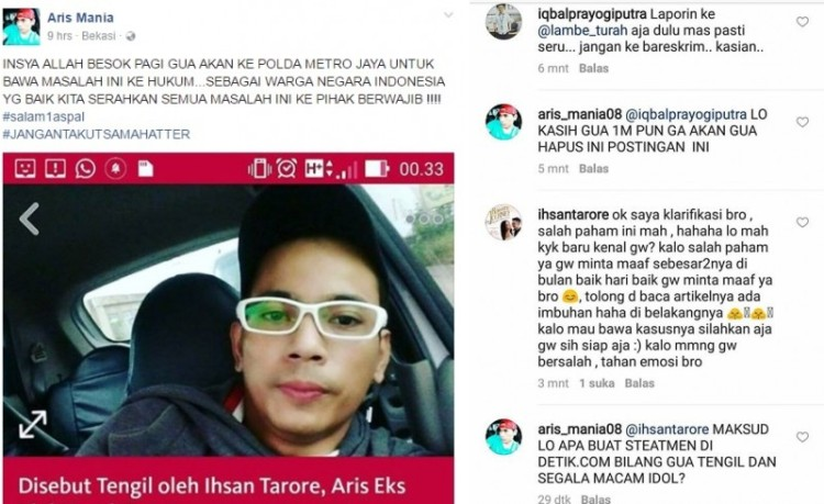 Aris eks idol akan polisikan Ihsan Tarore
