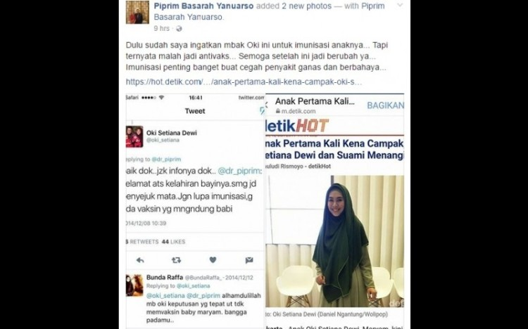 Oki Setiana Dewi tak berikan imunisasi campak kepada putrinya
