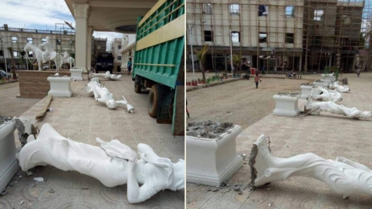 Patung di Grand Mall Batangase dirobohkan