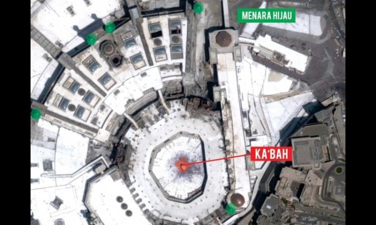 Peta Masjidil Haram dengan posisi kabah dan menara hijau
