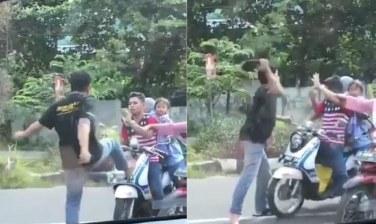 Pria tendang pukul dan pemotor yang bonceng anak