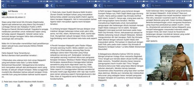 Status Facebook Arif Barata soal Gaj Ahmada
