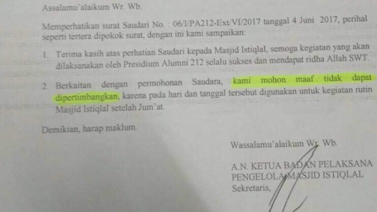 Surat Penolakan Pengelola Masjid Istiqlal atas aksi alumni 212