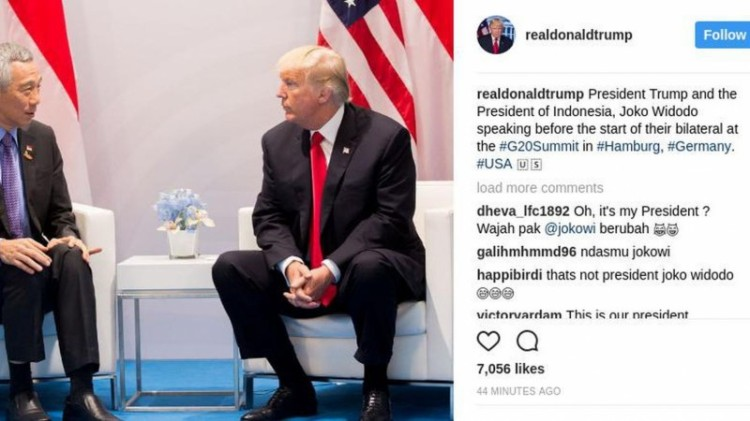 Donald Trump salah tulis PM Singapura menjadi Presiden Jokowi