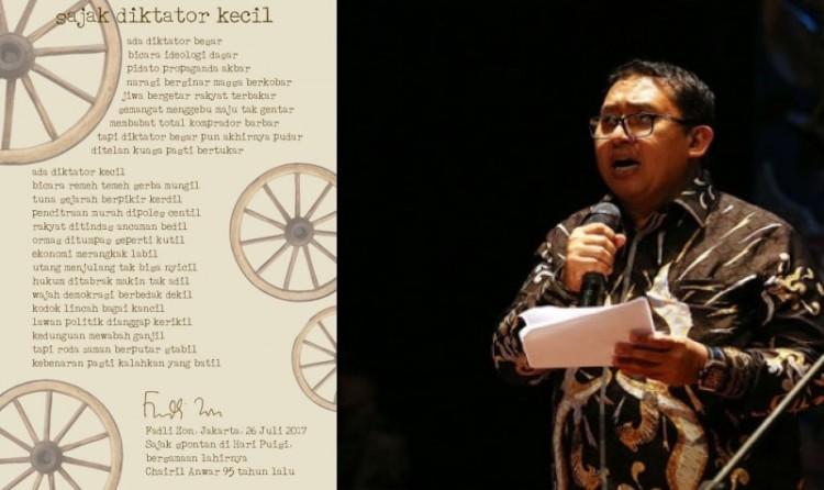 Fadli Zon saat membaca puisi
