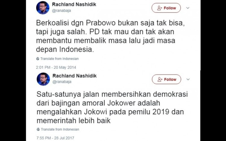Kicauan Rachland Nashidik soal Prabowo