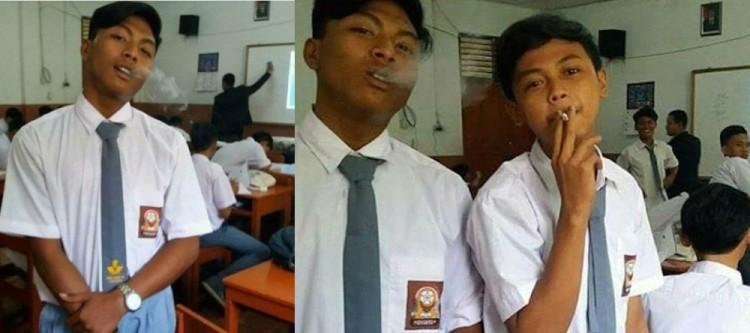 Siswa SMK PGRI 38 Jakut merokok dalam kelas
