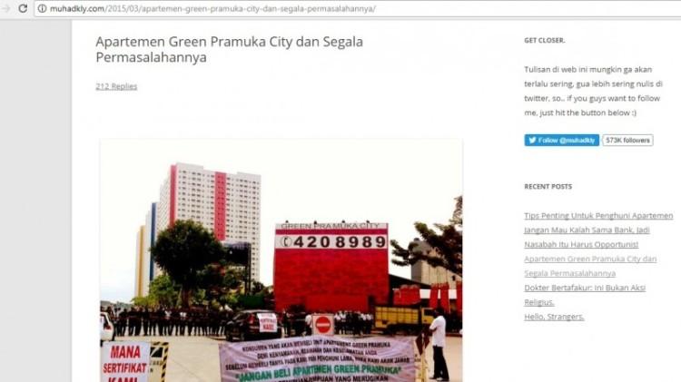 Acho mengkritik apartemen Green Pramuka City
