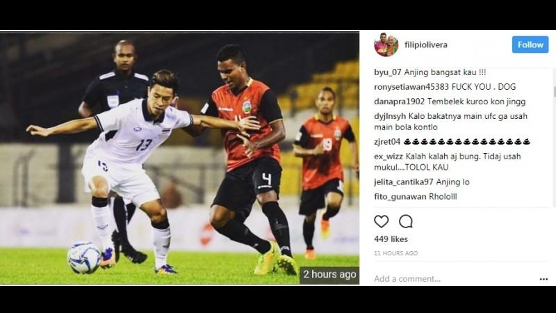Main Kasar, Akun IG Pemain Timor Leste, Filipe Oliveira Digeruduk Netizen