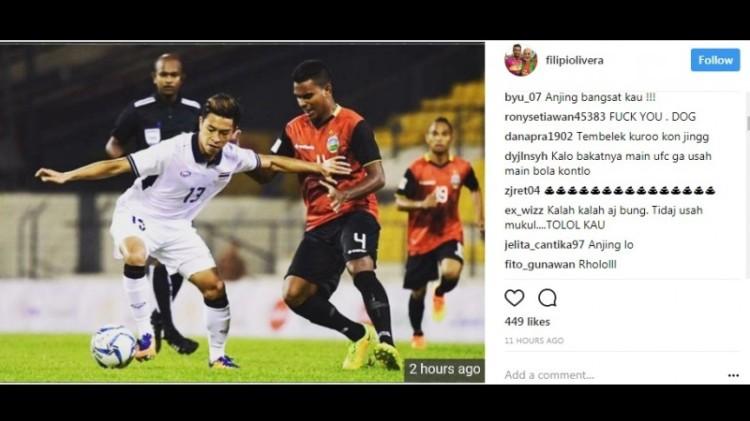 Akun Instagram Filipe Oliveira diserbu netizen Indonesia