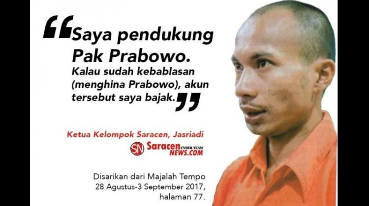 Pengakuan bos Saracen, Jasriadi soal pendukung Prabowo