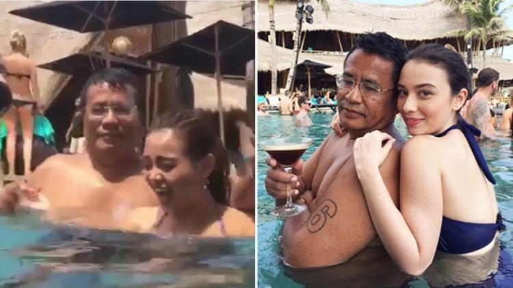 Hotman Paris berjoget dan dipeluk wanita di kolam renang