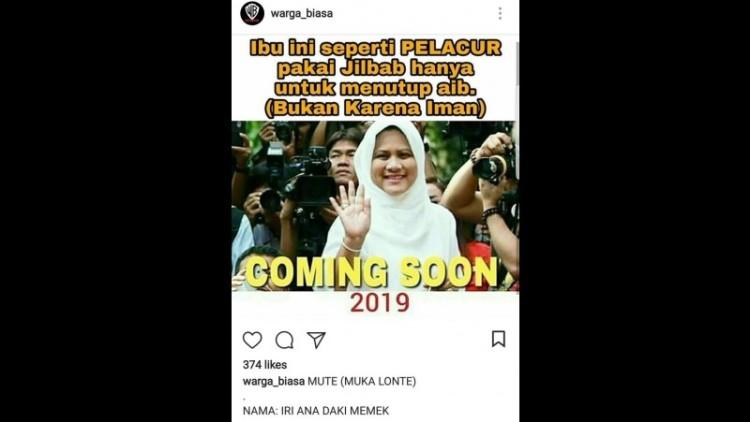 Ibu Iriana dihina di Instagram