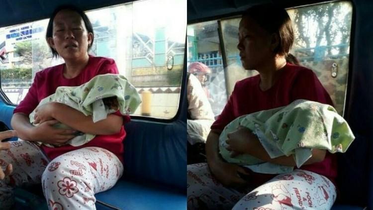 Ibu menangis gendong jenazah bayi dalam angkot di Lampung