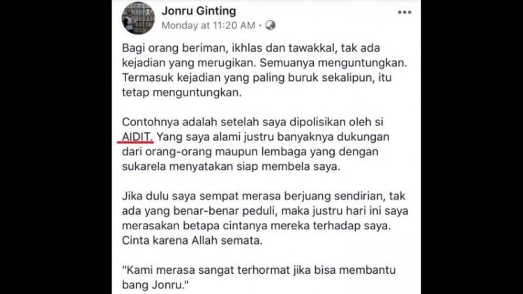 Jonru pelesetkan nama Al Aidid jadi Aidit