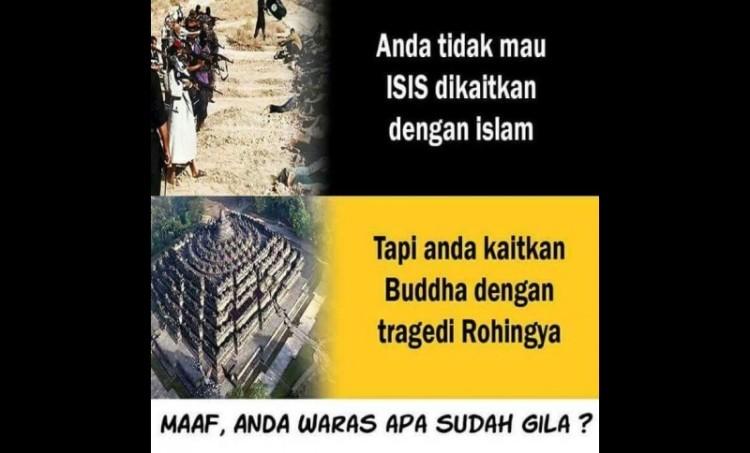 Meme soal aksi bela Rohingya di Borobudur