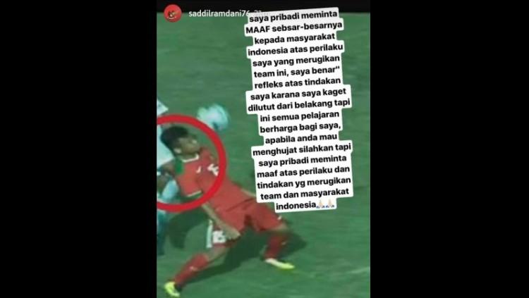 Saddil Ramdani minta maaf