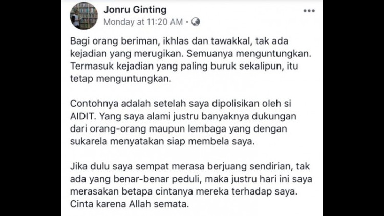Status Facebook Jonru yang dipermasalahkan