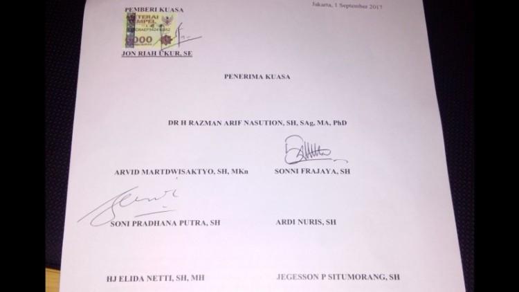 Surat penunjukkan Razman Arif Nasution menjadi pengacara Jonru