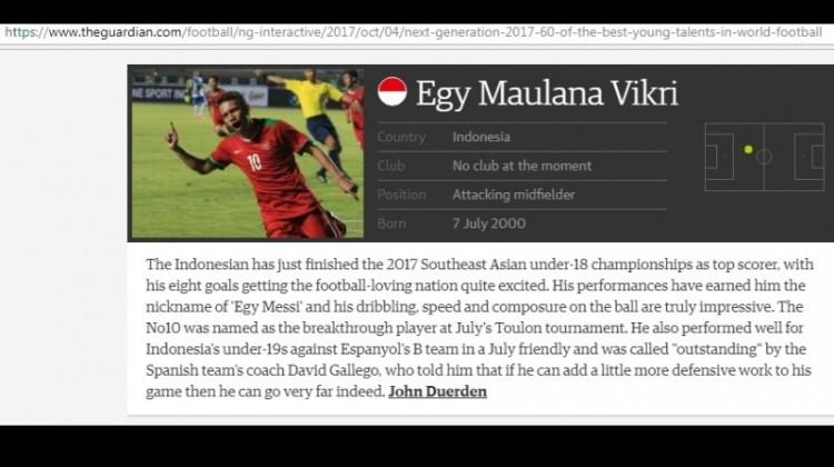 Artikel The Guardian soal Egy Maulana Vikri