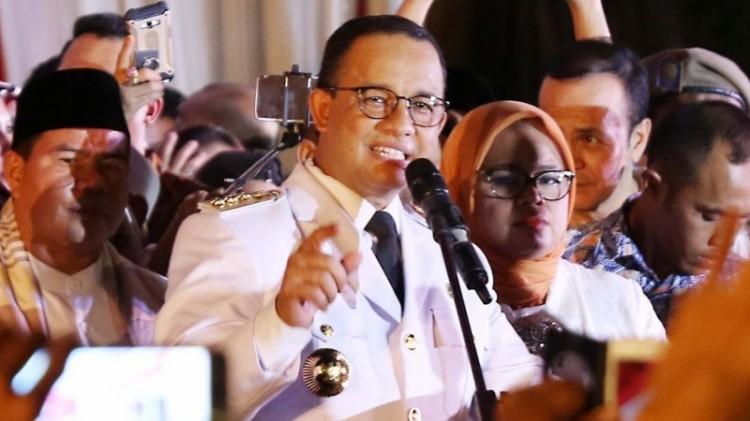 Gubernur DKI Jakarta, Anies Baswedan berpidato pertama kali di Balai Kota