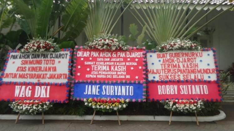 Karangan bunga untuk Ahok-Djarot di Balai Kota