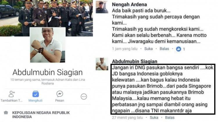 Komentar Kompol Abdul Mubin Siagian di FB