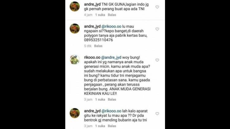 Komentar pemilik akun @andre_jyd yang menghina TNI