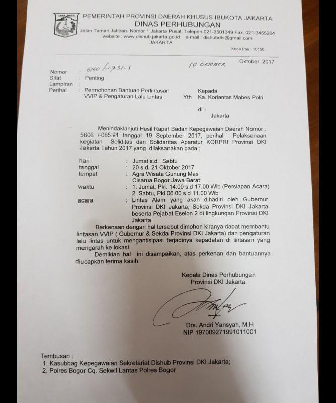 Surat Dishub DKI ke Polres Bogor soal acara Tea Walk di Gunung Mas