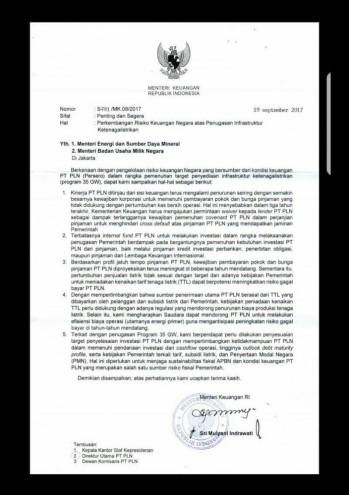 Surat Sri Mulyani soal kondisi keuangan PLN