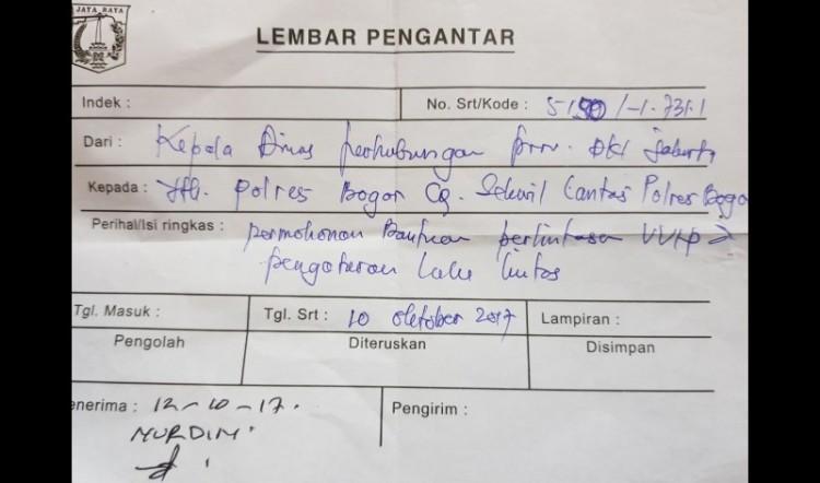 Tanda Terima Surat Dishub DKI ke Polres Bogor