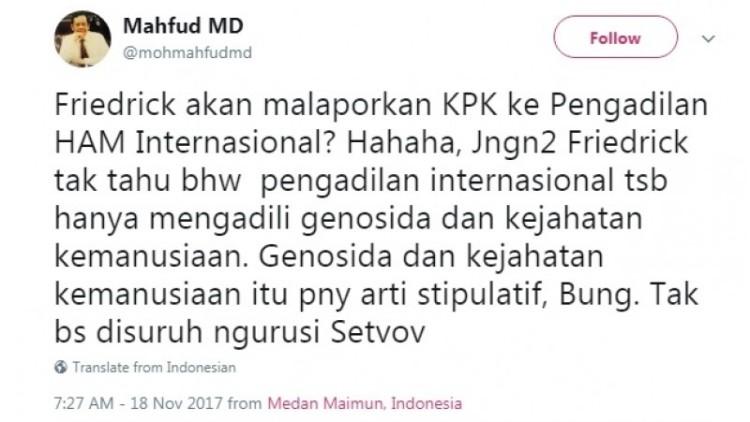 Cuitan Mahfud MD soal Pengacara Novanto Tuntut KPK ke Pengadilan HAM