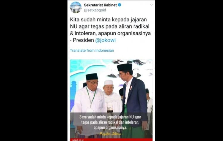 Twitter Setkab salah kutip pernyataan Jokowi