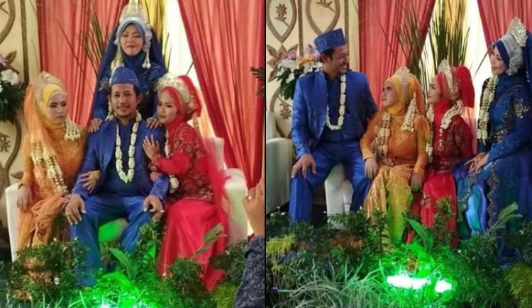 Viral foto pria di Cirebon menikahi 3 istri