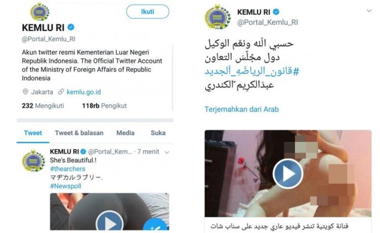 2 video porno diunggah akun Twitter Kemlu