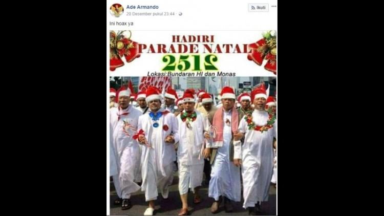 Ade Armando mengunggah foto Rizieq beratribut natal