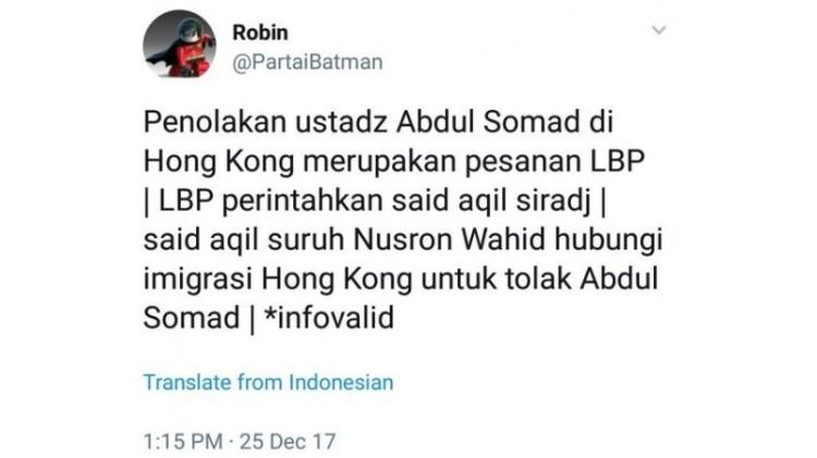@PartaiBatman memfitnah KH Said Aqil dan Luhut