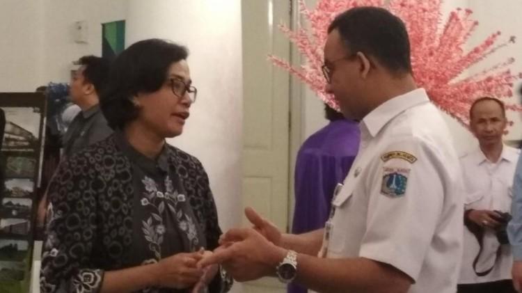 Sri Mulyani dan Anies Baswedan di Balai Kota