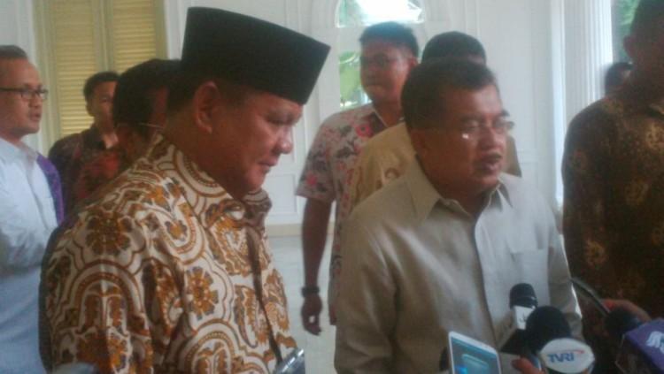 Prabowo saat bertemu Jusuf Kalla