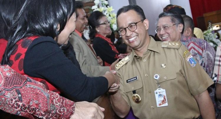 Anies saat menghadiri misa natal di Jakarta
