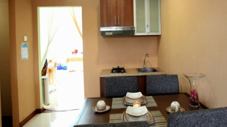 Dapur, ruang makan dan ruang tamu menyatu di rusun DP Rp 0