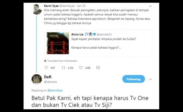 Kicauan Karni Ilyas dikritik netizen