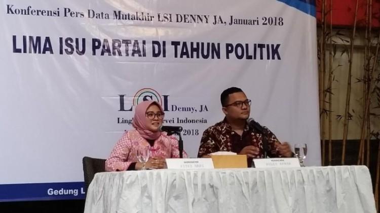 Konferensi pers LSI Denny JA pada Januari 2018