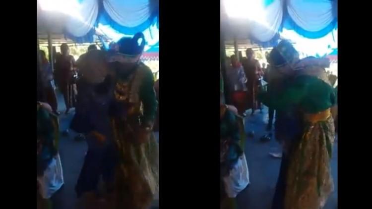 Pengantin pria memeluk, mencium mantannya